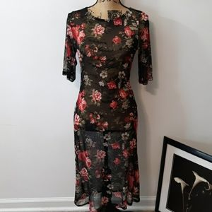 Rags To Wishes Black Sheer Floral Long Dress Sz XL